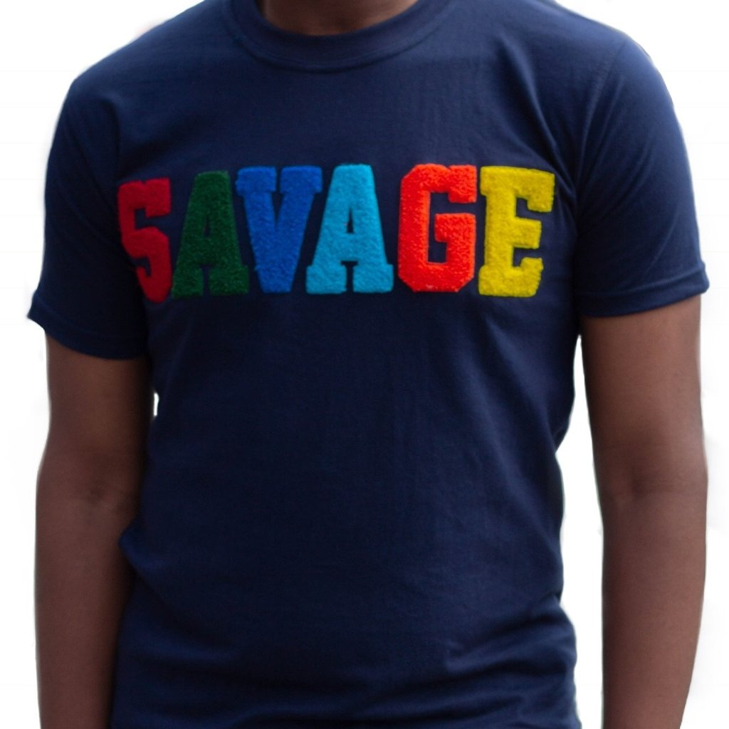 "365 Clothing ""Savage"" Chenille Patch T-shirt -Navy"