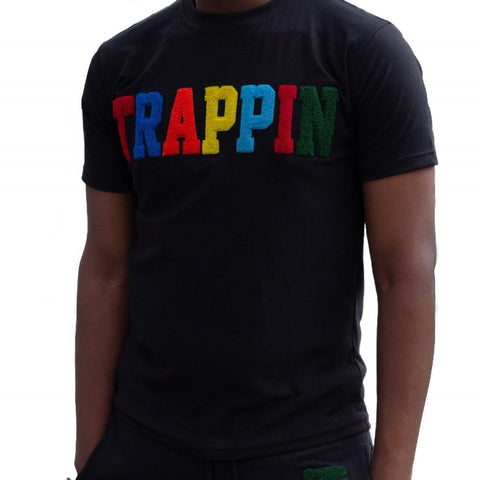 "365 Clothing ""Trappin"" Chenille Patch T-shirt -Black"