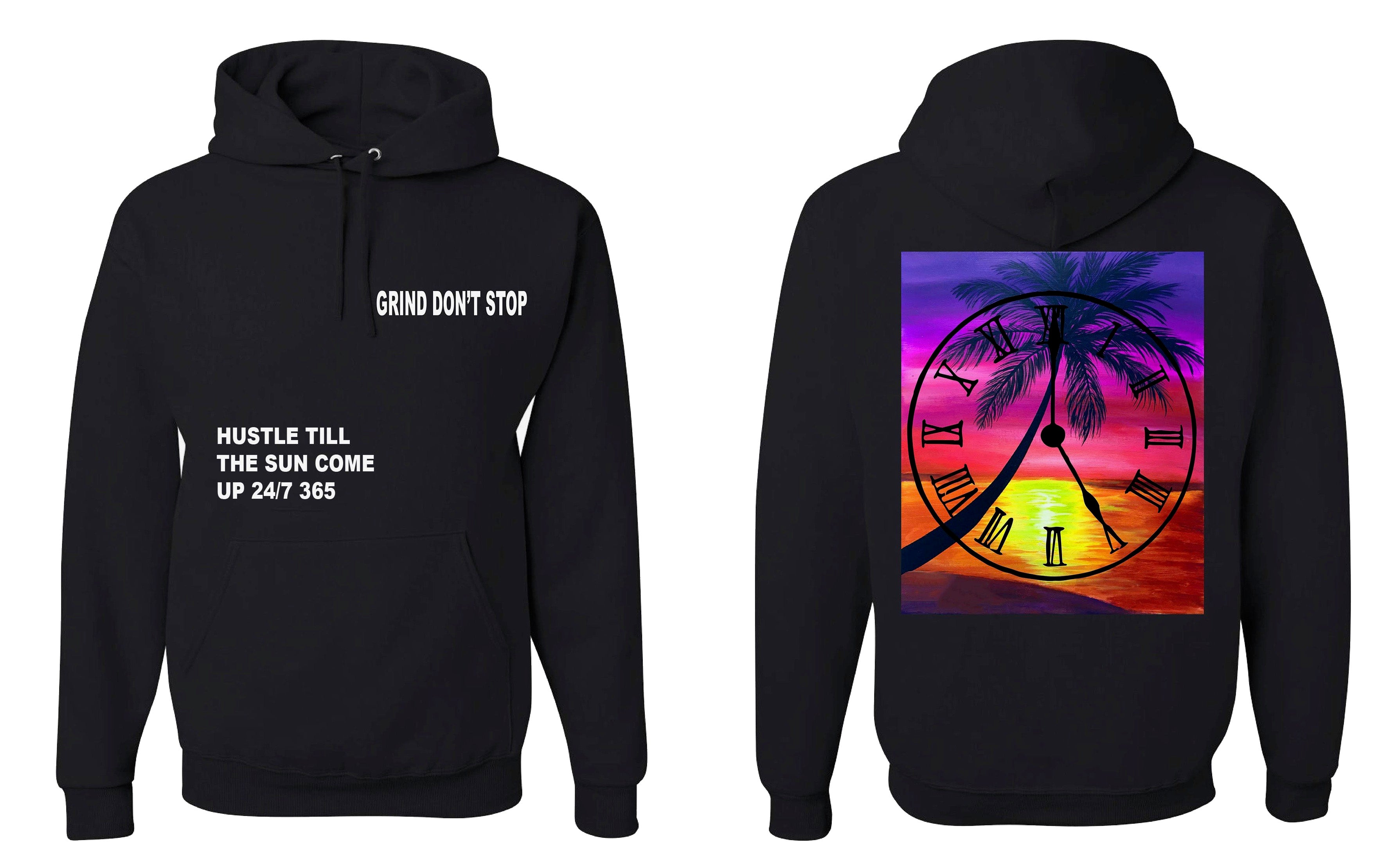 365 Clothing Hustle Till The Sun Come Up Hoodie - Black