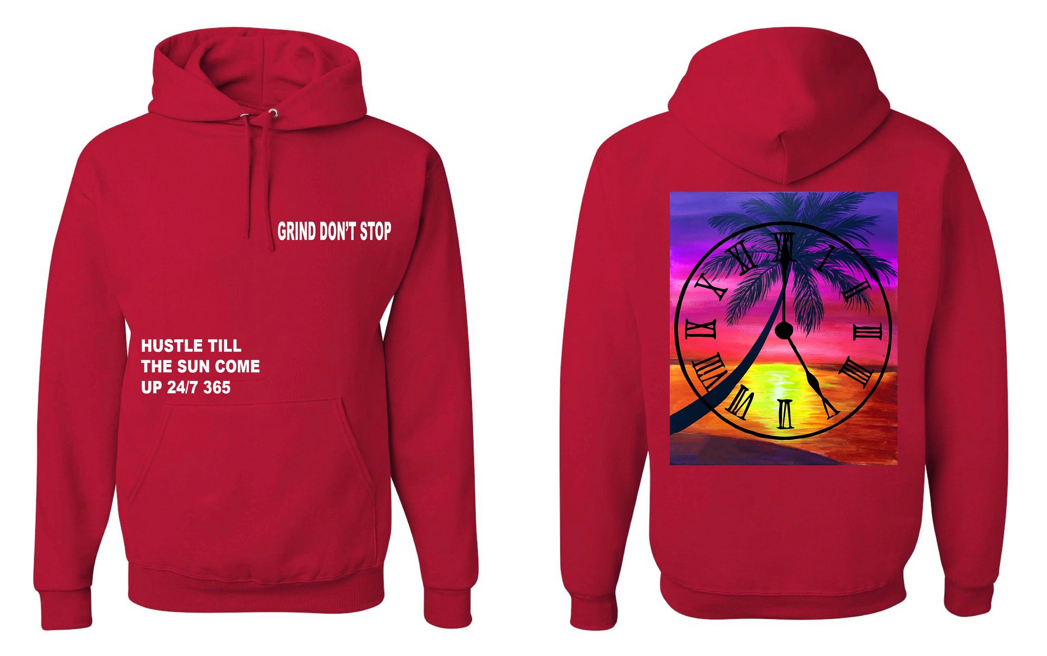 365 Clothing Hustle Till The Sun Come Up Hoodie - Red