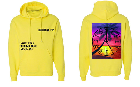 365 Clothing Hustle Till The Sun Come Up Hoodie - Neon Yellow