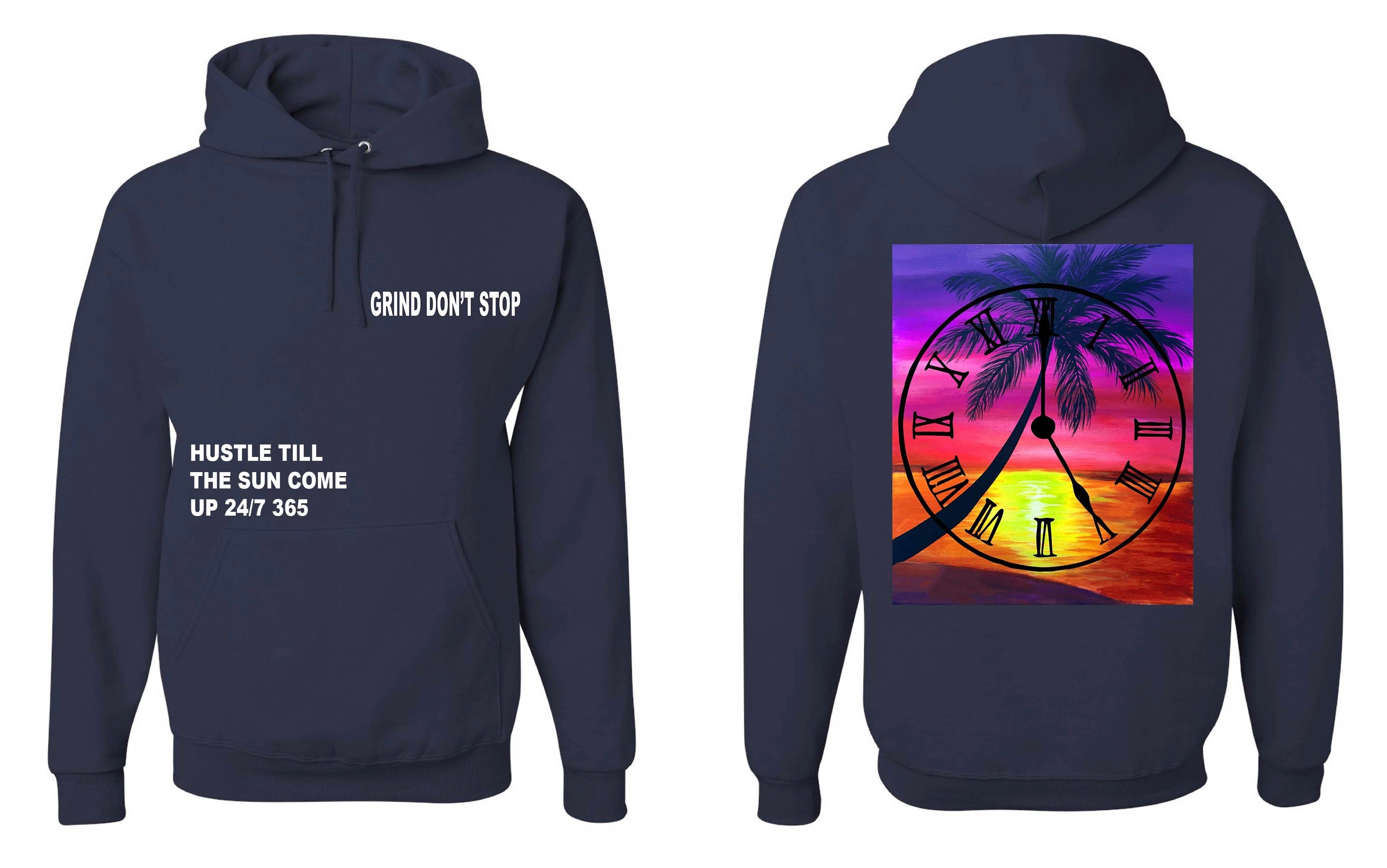 365 Clothing Hustle Till The Sun Come Up Hoodie - Navy
