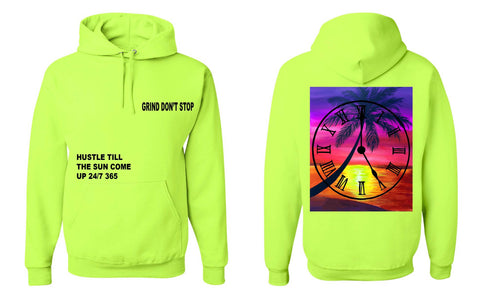 365 Clothing Hustle Till The Sun Come Up Hoodie - Neon Green