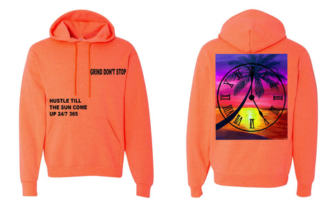 365 Clothing Hustle Till The Sun Come Up Hoodie - Heather Coral