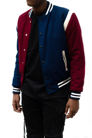 God First Unisex Wool Bomber -Navy/Maroon/White