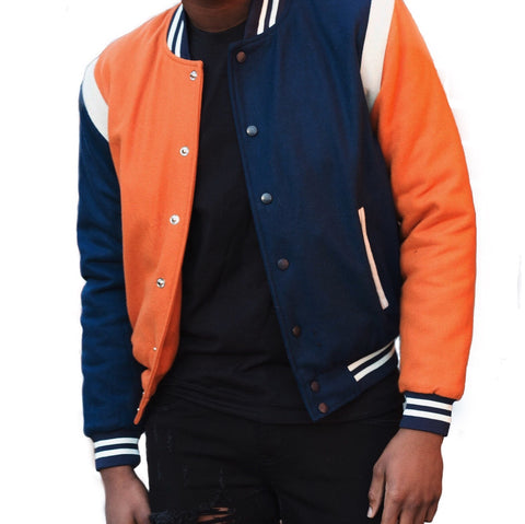 God First Unisex Wool Bomber -Navy/Copper/White