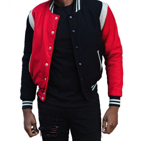 God First Unisex Wool Bomber -Black/Red/White