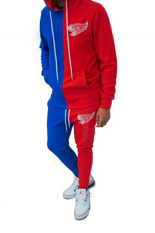God First Two Tone Signature Sweatsuit - Blue/Red