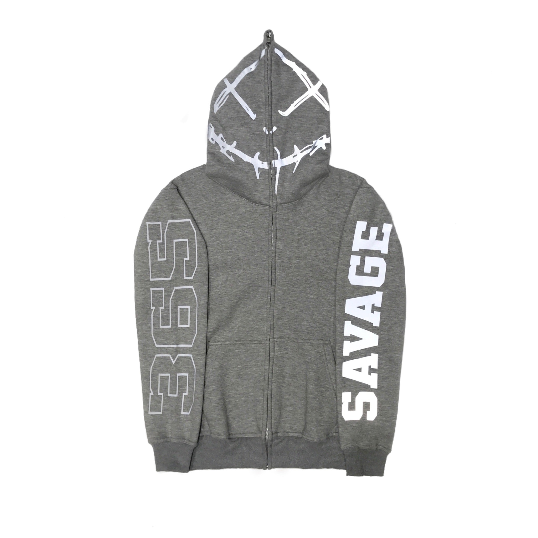 365 Clothing Savage Full Zip Up Hoodie -Grey
