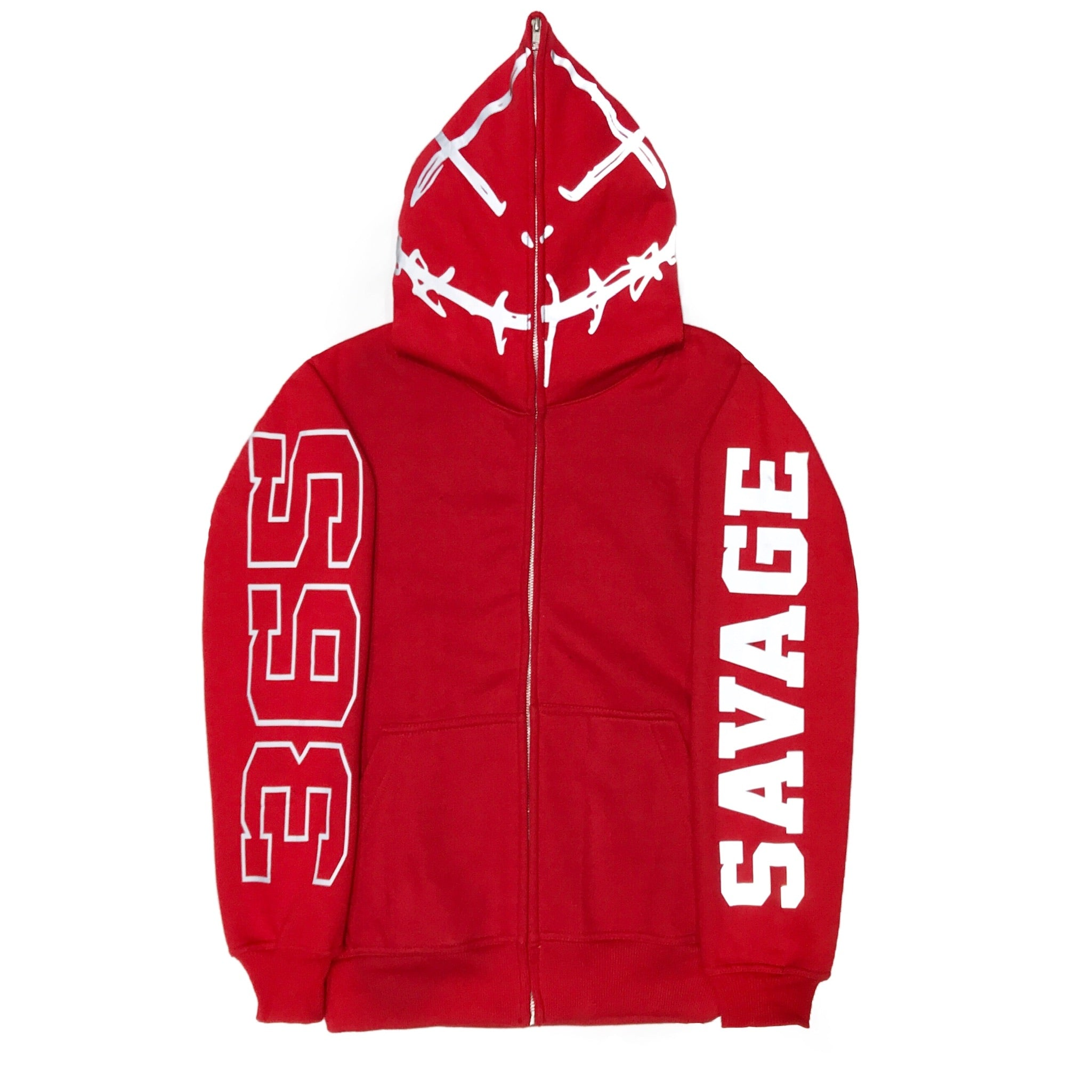 365 Clothing Savage Full Zip Up Hoodie -Red/3M