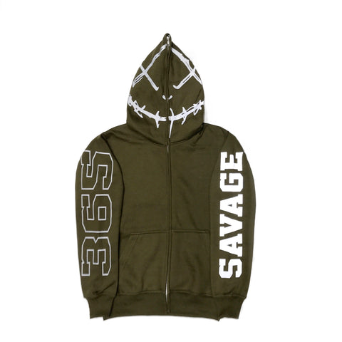 365 Clothing Savage Full Zip Up Hoodie -Olive/3M