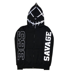 365 Clothing Savage Full Zip Up Hoodie -Black/3M