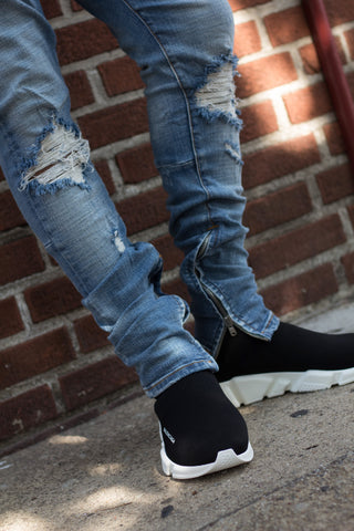 God First Light Blue Distressed Denim W/Ankle Zips