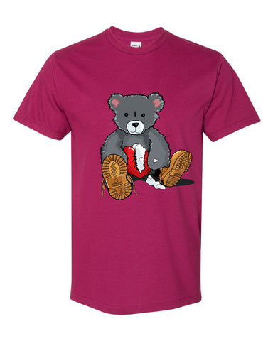 365 Clothing Broken Heart Bear T-Shirt -Berry