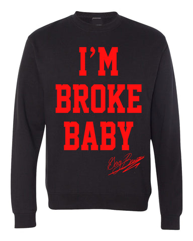 "Guy Benson Collection ""I'm Broke Baby"" crewneck sweater -Black/Red"