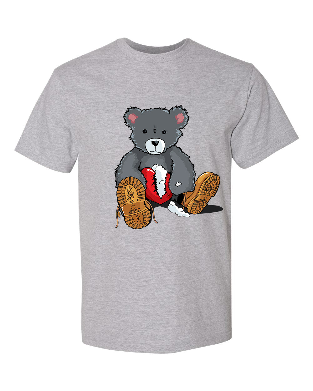 365 Clothing Broken Heart Bear T-Shirt -Grey