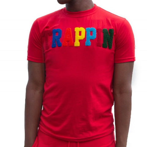 "365 Clothing ""Trappin"" Chenille Patch T-shirt -Red"