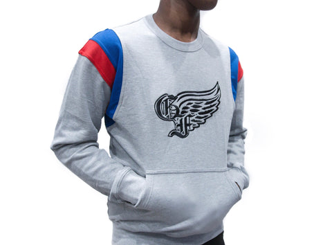 God First Signature Crewneck Sweater -Grey/Blue/Red