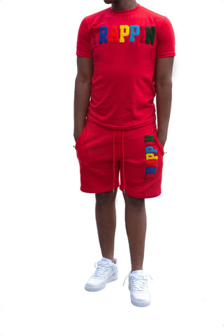 "365 Clothing ""Trappin"" Chenille Patch Short Suit Set -Red"