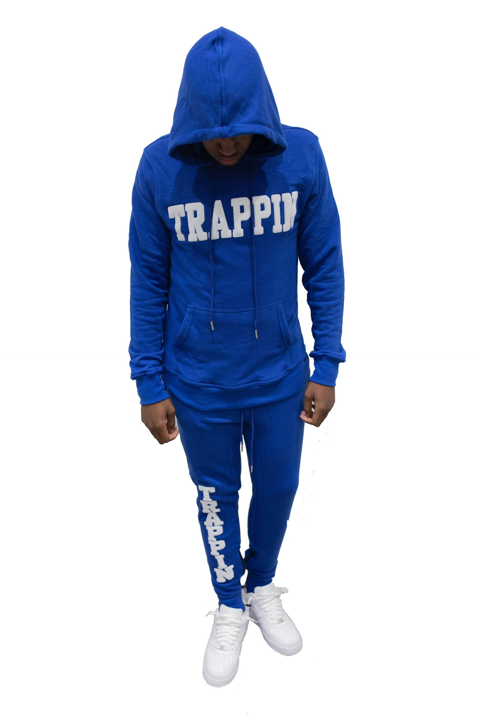 "365 Clothing ""Trappin"" Chenille Sweatsuit -Royal/White"