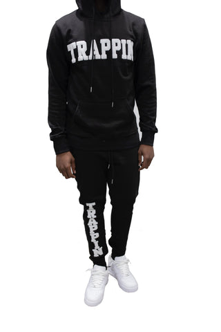 "365 Clothing ""Trappin"" Chenille Sweatsuit -Black/White"