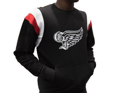 God First Signature Crewneck Sweater -Black/White/Red