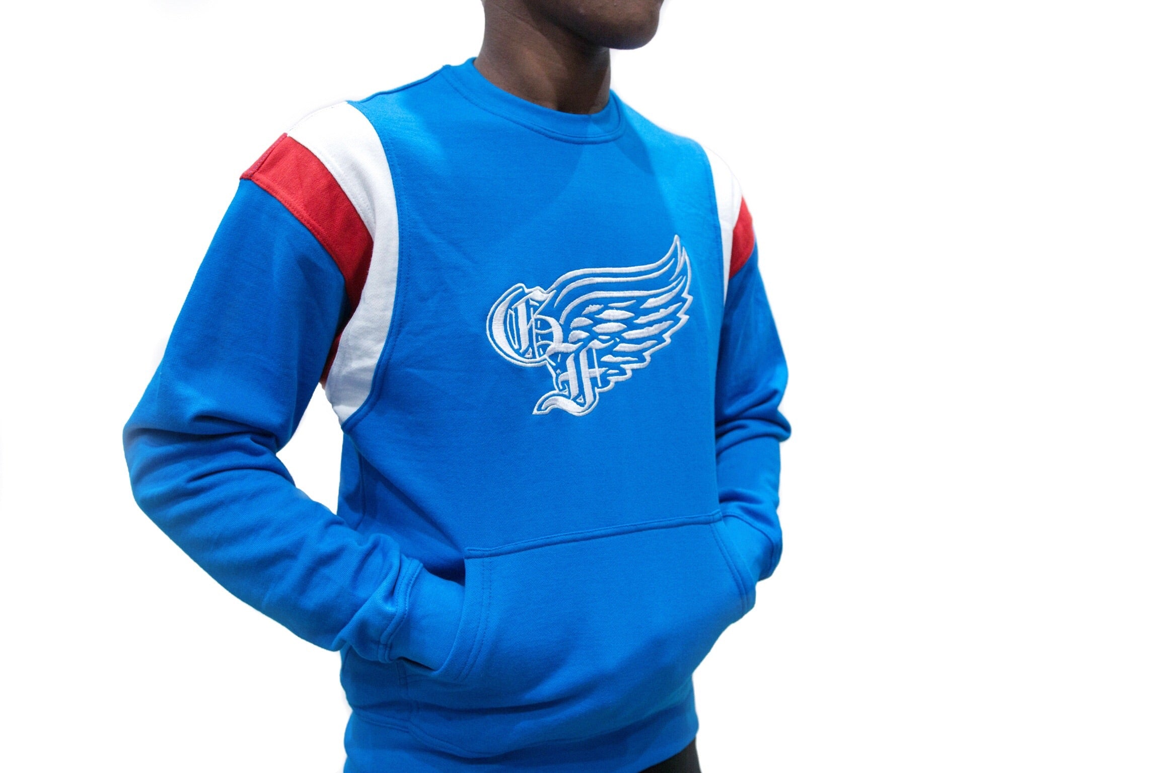 God First Signature Crewneck Sweater -Blue/White/Red