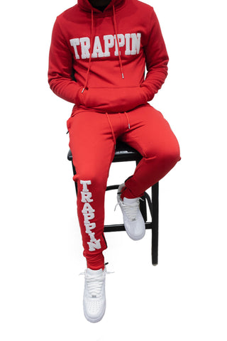 "365 Clothing ""Trappin"" Chenille Sweatsuit -Red/White"
