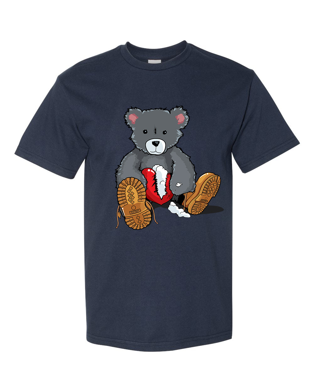 365 Clothing Broken Heart Bear T-Shirt -Navy