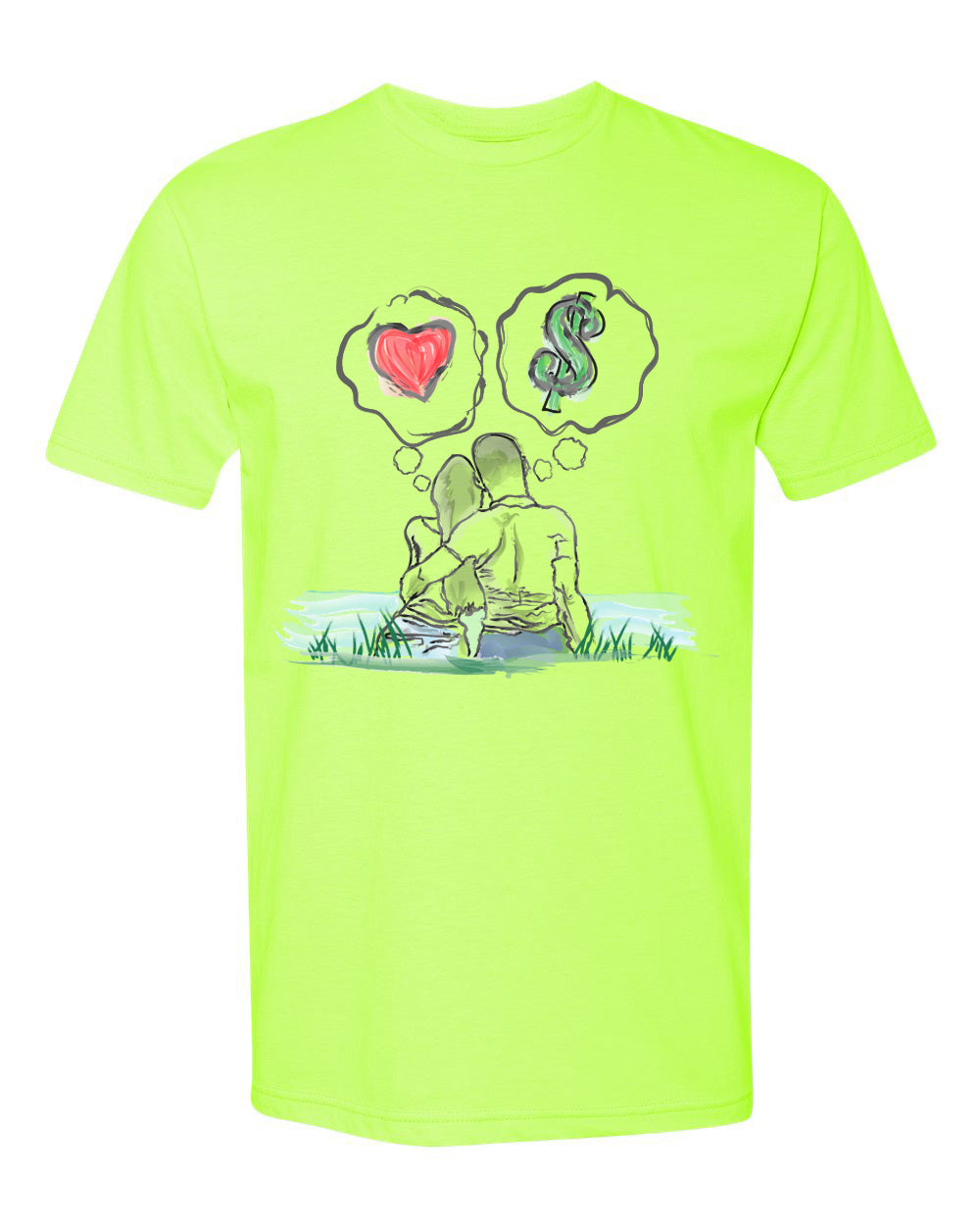 Guy Benson Collection Love Vs Money T-Shirt -Neon Green