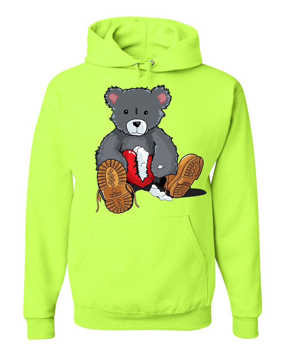 365 Clothing Broken Heart Bear Hoodie -Neon Green