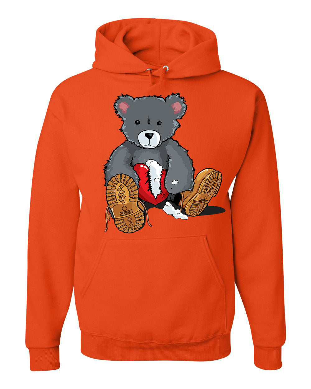 365 Clothing Broken Heart Bear Hoodie -Orange