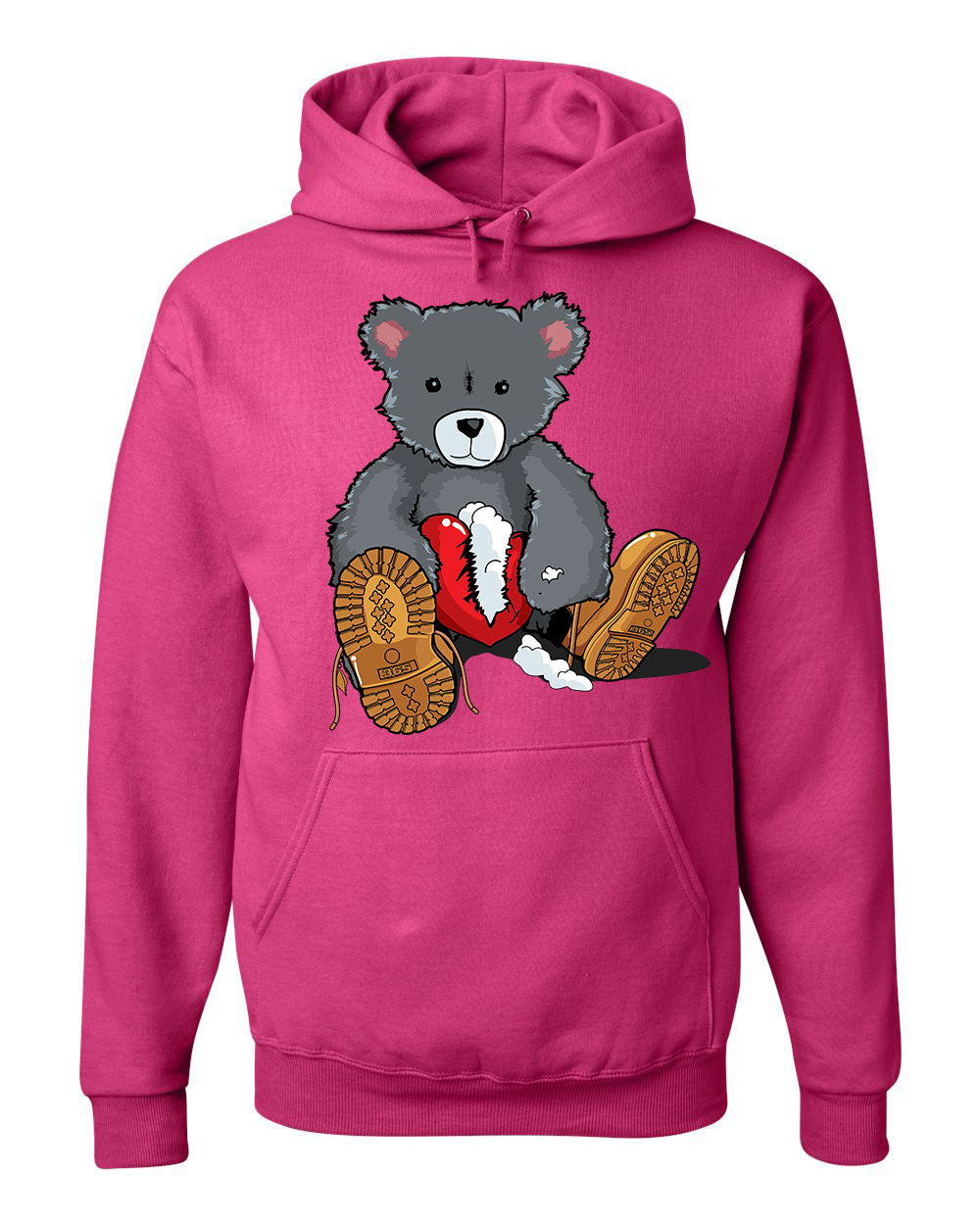 365 Clothing Broken Heart Bear Hoodie -Pink