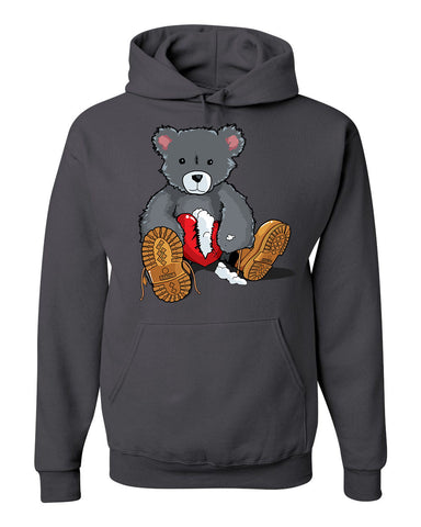 365 Clothing Broken Heart Bear Hoodie -Charcoal Grey
