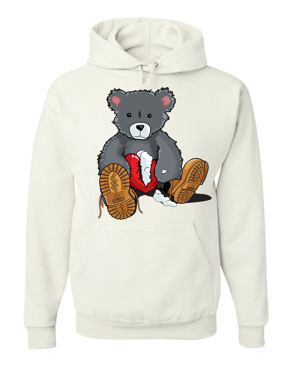 365 Clothing Broken Heart Bear Hoodie -White
