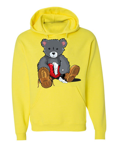 365 Clothing Broken Heart Bear Hoodie -Yellow