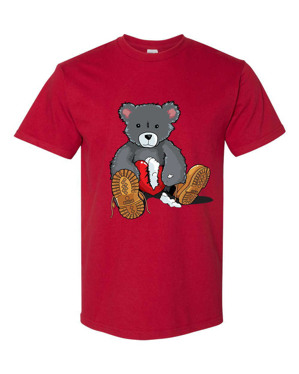 365 Clothing Broken Heart Bear T-Shirt -Red