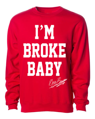 "Guy Benson Collection ""I'm Broke Baby"" crewneck sweater -Red/White"