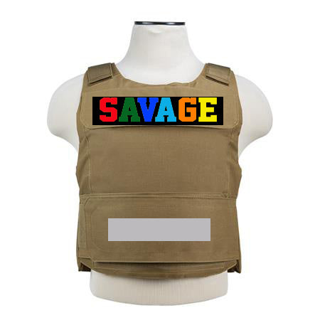 "365 Clothing ""Savage"" Embroidery Patch Vest -Tan"