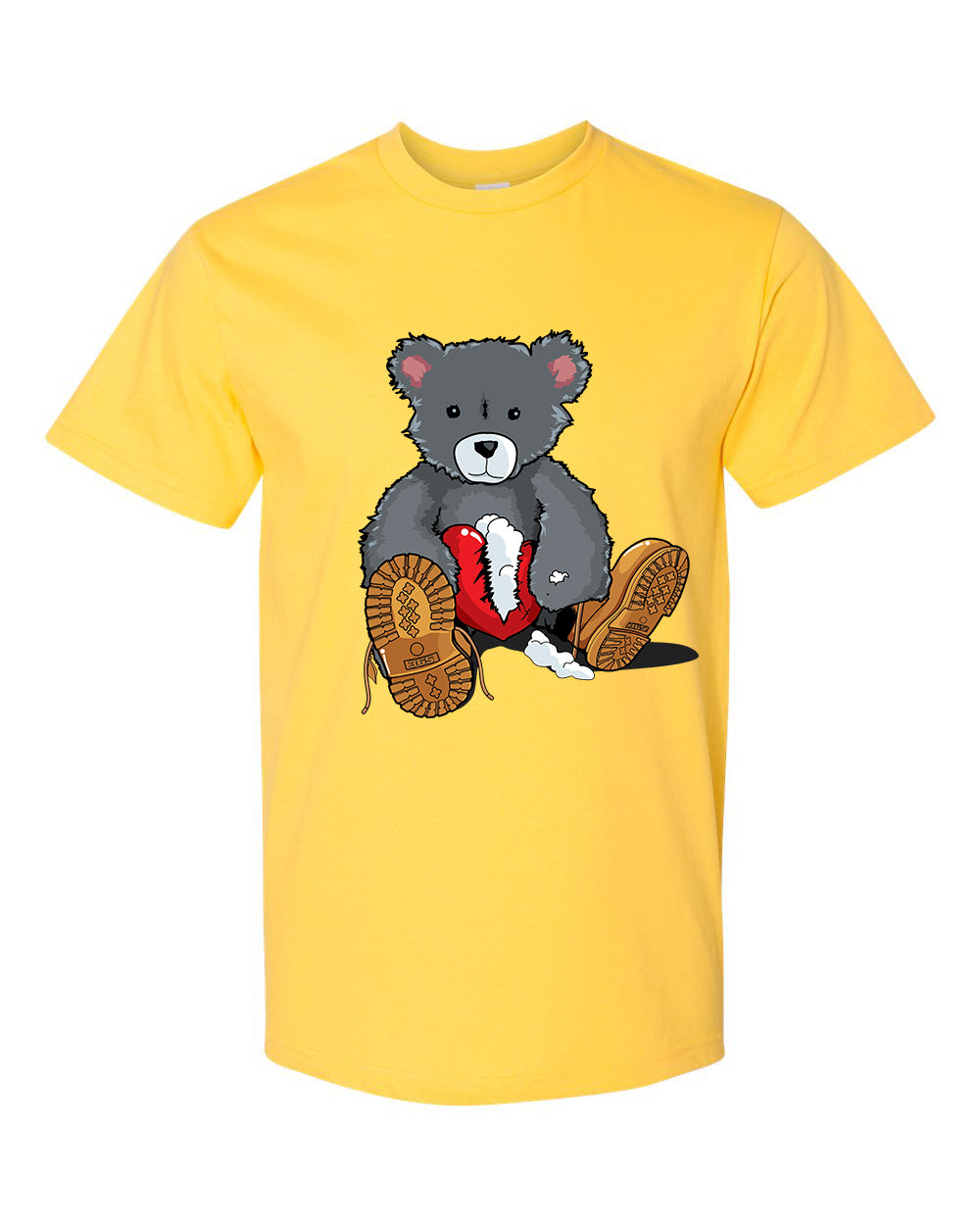 365 Clothing Broken Heart Bear T-Shirt -Yellow