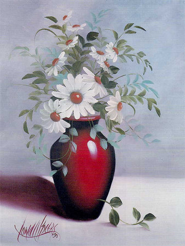 A Red Vase of Daisies