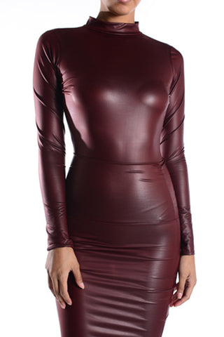 Vegan leather bodysuit (Burgandy) - Heavenly Lox