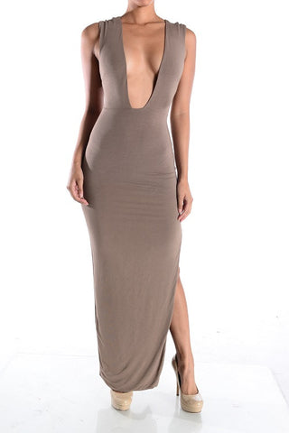 Daliah Deep-V bodycon Dress (Taupe) - Heavenly Lox