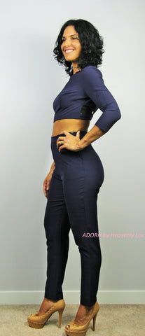 Heather 2 piece set (Navy) - Heavenly Lox