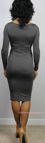 Reese bodycon Dress (Charcoal) - Heavenly Lox