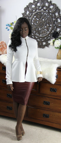 Checker Quilted Peplum Blazer (Ivory) - Heavenly Lox