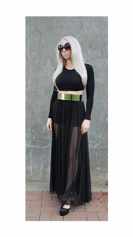 You See Right Thru Me Maxi Skirt (black)