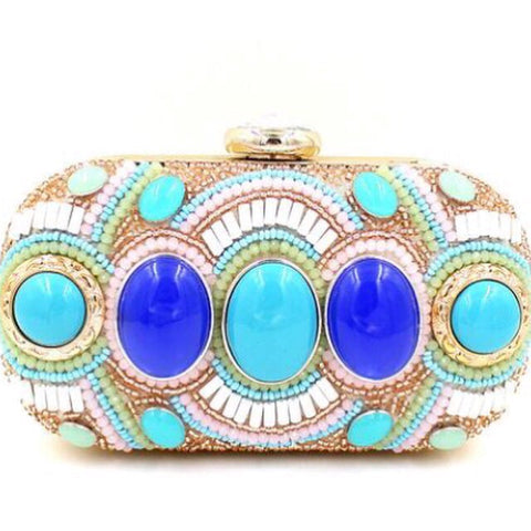 Turquise jeweled evening bag