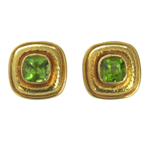 Elizabeth Locke Gold Peridot Earrings
