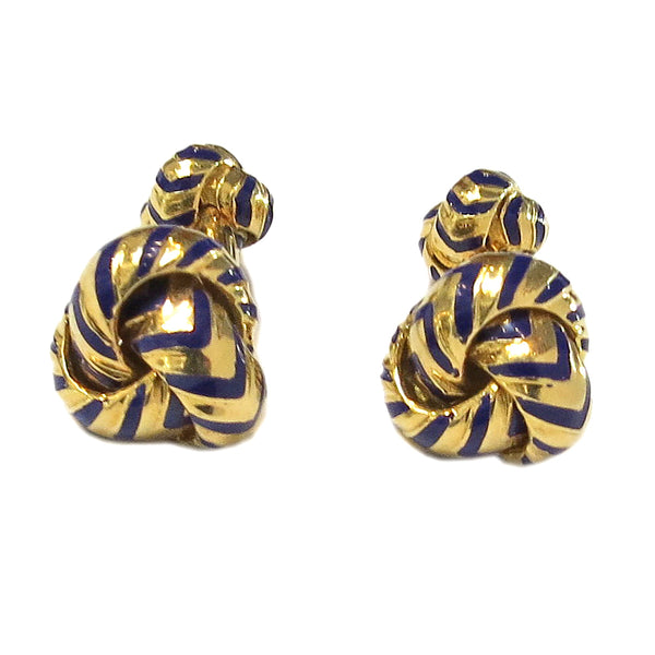 Tiffany & Co Gold Blue Enamel Knot Cufflinks